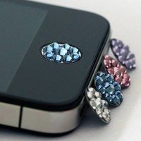 one piece blue Bling Rhinestone iPhone Home Button Sticker in clear plastic bag:Amazon:Cell Phones & Accessories