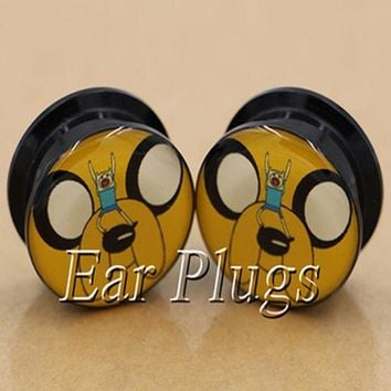 ac DCCKO2Q 1 pair adventure time dog face ear plug gauges tunnel acrylic screw flesh tunnel body piercing jewelry PAP0243