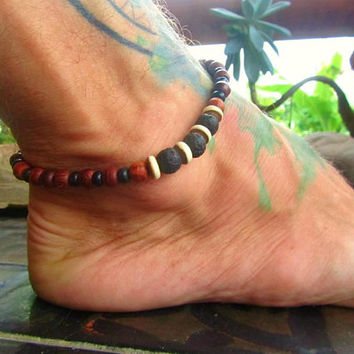 Lava Rock, Bone & Wooden Beaded Anklet / Mens Ankle Bracelet / Surfer Ankle Bracelet / Beaded Anklet / Gemstone Beaded Anklet / Manklet