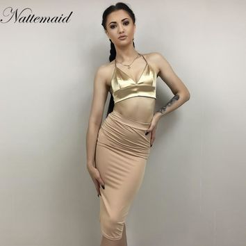 NATTEMAID 2017 New Women Dress Summer halter neck Gold color Female Satin dresses Backless vestidos Tight fitted slim Bodycon