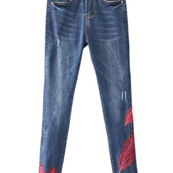 Blue Light Washed Embroidered Raw Hem Skinny Jeans