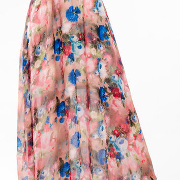 Bohemian Floral Printed Pleated Maxi Chiffon Skirt