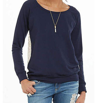 Dark Blue Back Lace Stitching Casual Long Sleeve Sweatshirts