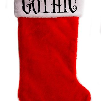 "Gothic Christmas Holiday Stocking 17"" Red/White Plush Hanging Sock Santa Stuffer Merry Gothmas"