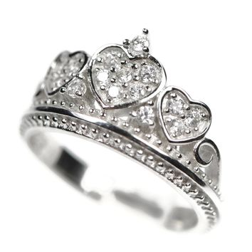 68159bd00 Sterling Silver and Cubic Zirconia Crown Amore Heart Ring
