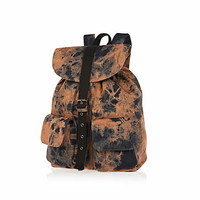 Black acid wash rucksack - rucksacks - bags / wallets - men