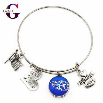 Tennessee Titans Football Sports Adjustable Expandable DIY Bangle Charms Bracelets With 18MM Ginger Snap Buttons Jewelry