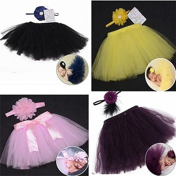 0-6M Newborn Baby Girl Tutu Skirt Headband Photo Photography Props 2PC Outfits Clothing Skirt Baby Photography Props Photo Shoot