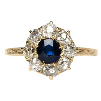 Victorian Sapphire and Diamond Halo Engagement Ring
