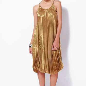 Alluring Accordion Pleated Swing Dress In Gold|Thirteen Vintage
