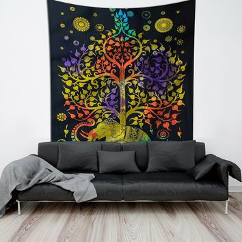 Psychedelic Tree of Life Boho Large Tapestry