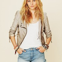 Free People Double Breasted Vegan Leather Jacket