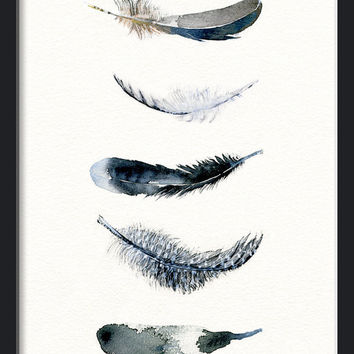 Feather watercolor art - black bird feather art print from original watercolor by Annemette Klit - feather painting - feather giclee art