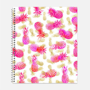 Pineapple Party Notebook, Waterproof Cover, Journal, Tropical Journal, School Supplies, Pink and Gold Notebook, College Ruled