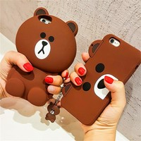 Korea New Hot Teddy Bear Rabbit Cute Animal Soft Silicon Phone Case For iPhone 8plus 7 7plus 6 6s plus 5s Phone Back Covers Capa