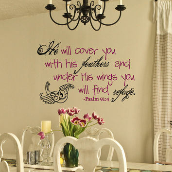 Under his wings Psalm Scripture Wall Vinyl Decal psalm 91:4 Bible Verse Christian Decor