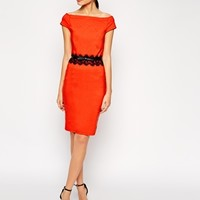 Paper Dolls Belted Off Shoulder Pencil Dress With Lace Waist at asos.com
