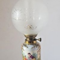 Antique Porcelain Oil Lamp Matching Stand Hand Painted French 3 Feathers Chimney