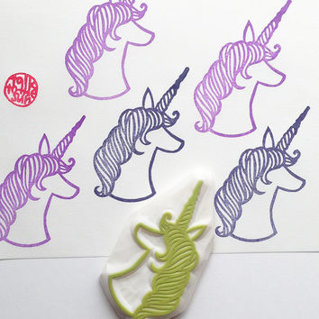 unicorn head stamp. magical unicorn hand carved rubber stamp. fairytale birthday. gift wrapping. card making. scrapbooking craft projects
