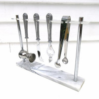 Mid Century Bar Tools, Bartender Set, Barware Set, White Marble Tray, Mixology Tools - 5 Piece Set