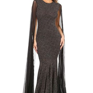 Mesh Cape Shoulder Glittered Maxi Dress