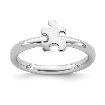 Sterling Silver Stackable Expressions Autism Awareness Puzzle Piece Ring