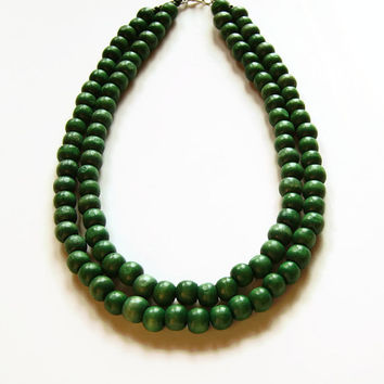 Large green beaded necklace, Green wooden bead necklace, Wood jewelry