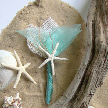 Beach Wedding Boutonniere White Aqua Groom Groomsmen Destination Wedding Tropical Starfish Caribbean Blue Seaside Wedding Ceremony Ocean