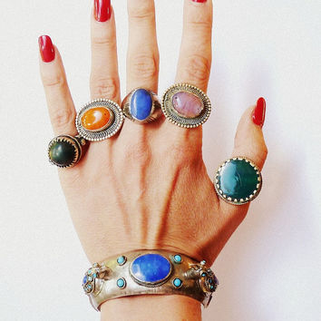 Tribal Jewelry KUCHI Ring Vintage UNUSUAL and BEAUTIFUL Green Orange Purple Blue Oval Round Glass Cabachon Metal Ring