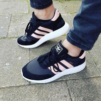 Adidas Iniki Runner Boost Pink/Black Fashion Trending Running Sports Shoes Sneakers