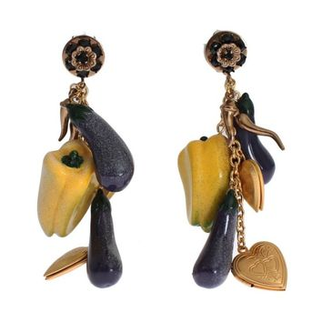 Dolce & Gabbana Gold Brass Aubergine Paprika Earrings