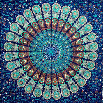 Blue Indian Mandala Tapestry, Hippie Hippy Wall Hanging Throw Bedspread Dorm Tapestry Decorative Wall Hanging Picnic Beach Sheet Coverlet