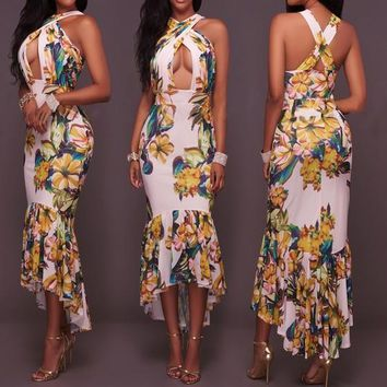 Multicolor Flowers Print Irregular Cross Back High-low Mermaid Bodycon Party Maxi Dress