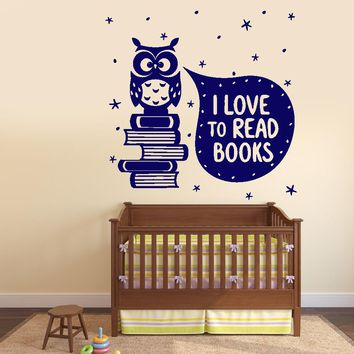 Wall Vinyl Decal I Love Read Books Quotes Decor Unique Gift z3799