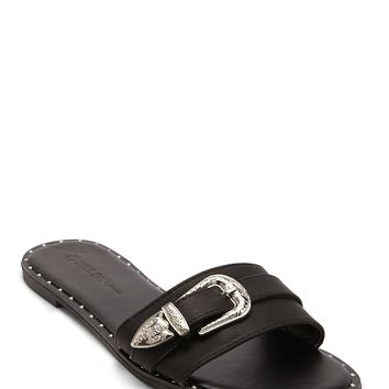 Buckle Faux Leather Slides