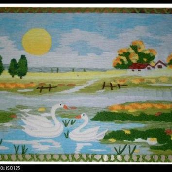 Handmade Art Tapestry Tapestry Wall Mural Classic Swan Couple Living Room Decorative Stereo Tapestry