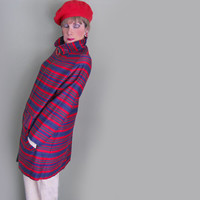 Vintage RainCoat - 1960s Mod Rain Gear For Women - Red Blue Stripe