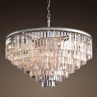 1920s Odeon Glass Fringe 7-Ring Chandelier Polished Nickel