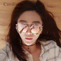 Oversized hexagon Hipster stylish Super Women Men Big Large Mirror Rose Gold Sunglasses Brand Design sun glasses lady Lovers