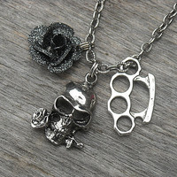 Silver Brass Knuckles Necklace with Silver Skull and Black Rose Charm, Punk Rock, Rock and Roll, Rocker, Gothic, Goth, Heavy Metal,