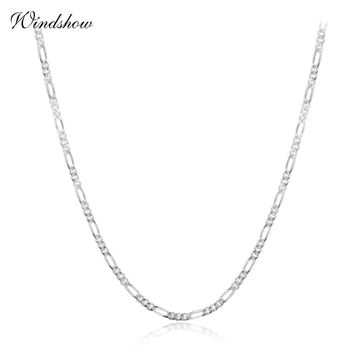 35-70cm 925 Sterling Silver Slim Figaro Chain Necklace Women Girl Italy Jewelry kolye collares collane collier ketting sieraden