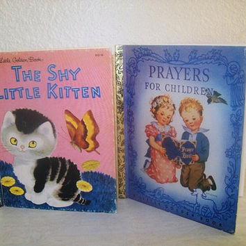 11-1144 4 Vintage Little Golden Books / Prayers For Children / The Shy Little Kitten / The Littlest Christmas Elf