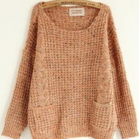 Sweet Round Neck Double Pocket Pink Sweater  S003464