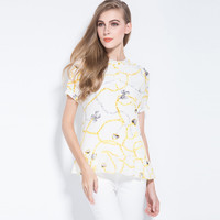 Printed Short Sleeve Flounced Hem Top