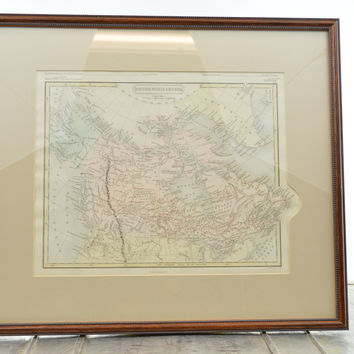 Original Hand Colored 1853 Map of British North America Framed