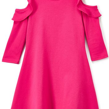 Solid Ruffle Cold Shoulder Fuchsia Pink Casual Dress Girls 4-14