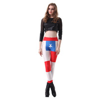 MultiFunS Fashion  body fitness  Leggings  sexy Leggings sexy slim slim Leggings skinny pants body fitness Flag of Chile sexy Le