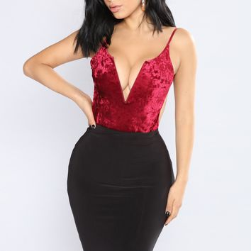 Vixen Crushed Velvet Bodysuit - Burgundy