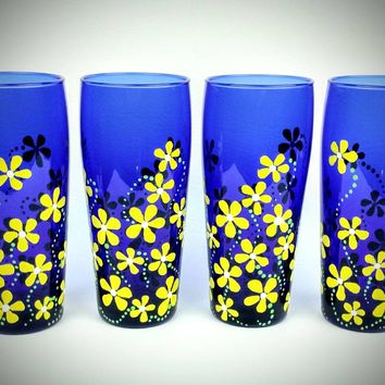 Hand painted drinking glasses, set of 4, yellow flowers, water glasses, juice glasses, iced tea glasses, blue drinking glass, gift set