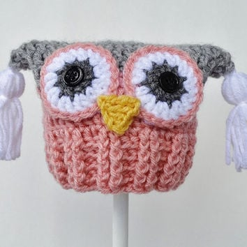 Crochet Owl Hat, 3 to 6 mo, Ready to Ship, Pink and Grey